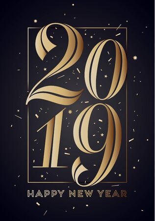 2019. Happy New Year. Greeting card with inscription Happy New Year 2019. Fashion style for Happy New Year or Merry Christmas theme. Holiday background, banner, card and poster.