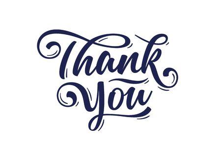 Danke, Handbeschriftung Danke, dekorative Grafik auf weißem Hintergrund. Banner, Poster, Grußkarte mit Kalligraphie danke für den Feiertag Thanksgiving Day. Vektorillustration Vektorgrafik