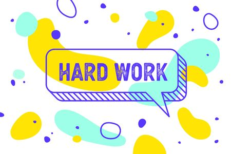 Work Hard. Banner, speech bubble, poster and sticker concept, geometric style with text work hard. Icon balloon with quote message Work hard. Explosion burst design. Vector Illustration Stock Illustratie