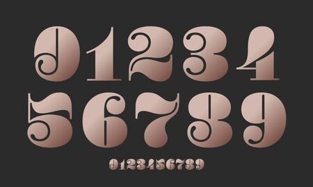 Number font. Font of numbers in classical french didot or didone style with contemporary geometric design. Beautiful elegant numerals. Vintage and old school retro typographic. Vector Illustration Stock Illustratie