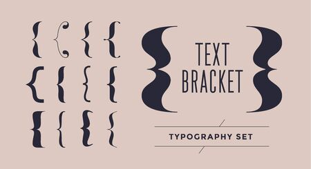 Bracket, braces, parentheses. Typography set of curly brackets. Bracket punctuation shapes for messages. Vintage curly brace typography symbols for text frame. Graphic design. Vector Illustration