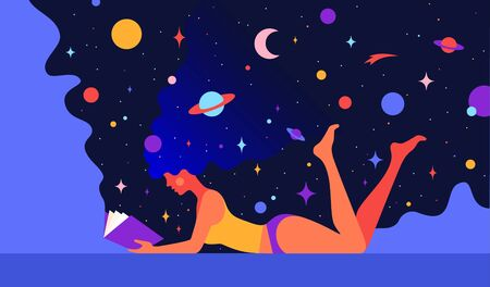 Modern flat character. Woman with dream universe reads open book. Simple cartoon character of woman girl with universe starry night in hair. Colorful contemporary art style. Vector Illustration
