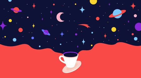 Coffee cup with universe dreams. Modern flat illustration. Banner for cafe, restaurant, menu, coffee dreams theme. Colorful contemporary art style. Vector Illustration Stock Illustratie