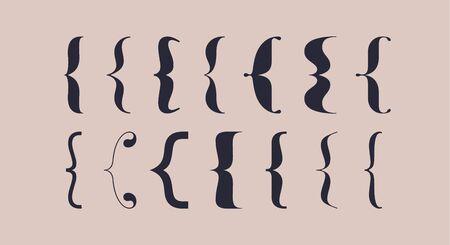 Bracket, braces, parentheses. Typography set of curly brackets. Bracket punctuation shapes for messages. Vintage curly brace typography symbols for text frame. Graphic design. Vector Illustration