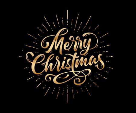Merry Christmas. Lettering text for Merry Christmas. Greeting card, poster, banner with script text merry christmas. Holiday background with graphic, golden sunburst line rays, fireworks. Vector Illustration Stock Illustratie