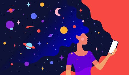 Modern flat character. Character of woman girl with universe dreams in hair and phone in hand. Woman on loneliness and solitude internet concept. Colorful contemporary art style. Vector Illustration Stock Illustratie