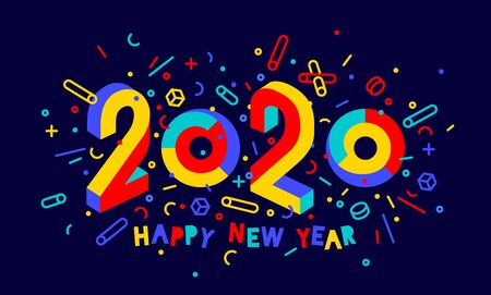 2020, Happy New Year. Greeting card with inscription Happy New Year 2020. Geometric memphis bright style for Happy New Year 2020 or Merry Christmas. Holiday background, poster. Vector Illustration Stock Illustratie