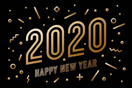 2020, Happy New Year, gold. Greeting card with golden text Happy New Year 2020. Geometric memphis gold style for Happy New Year or Merry Christmas 2020. Background, banner, poster. Vector Illustration