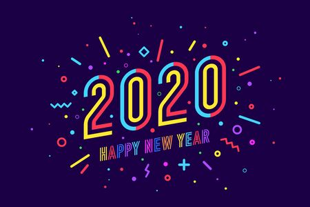 2020, Happy New Year. Greeting card with text Happy New Year 2020. Geometric memphis bright style for Happy New Year 2020 or Merry Christmas. Holiday background, poster. Vector Illustration Stock Illustratie
