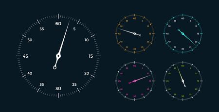 Set of white clock face for with pointer on black background. Vector Illustration