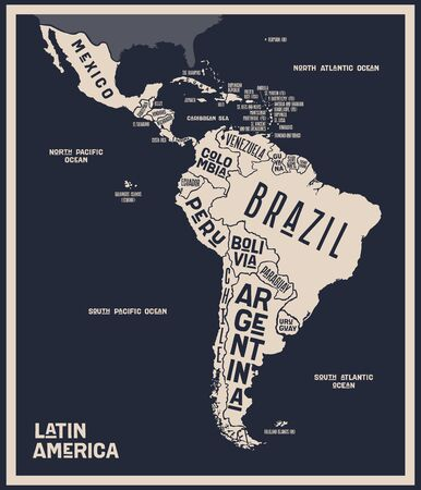 Map Latin America. Poster map of Latin America. Black and white print map of Latin America for t-shirt, poster or geographic themes. Hand-drawn graphic map with countries. Vector Illustration 向量圖像