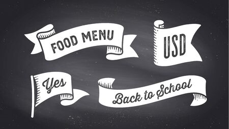 Ribbon Banner. Set of black and white ribbon banner with text, phrase. White isolated vintage old school silhouette ribbon with text Food Menu, USD, Yes on black chalk board. Vector Illustration