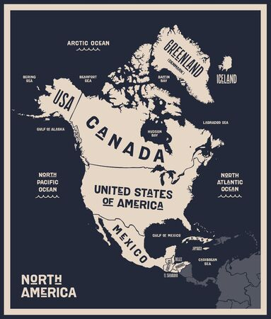 Map North America. Poster map of North America. Black and white print map of north America for t-shirt, poster or geographic themes. Hand-drawn graphic map with countries. Vector Illustration