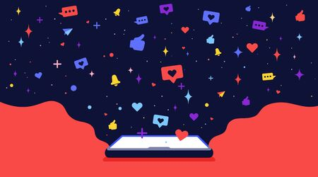 Modern flat character. Cell phone with cloud universe and icons social networks. Loneliness and solitude internet concept. Colorful contemporary art style. Vector Illustration