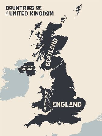Map United Kingdom. Poster map of contries of the United Kingdom. Black and white print map of United Kingdom for t-shirt, poster, print. Hand-drawn graphic map with countries. Vector Illustration
