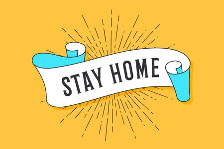 Stay Home. Vintage trendy flag ribbon with text Stay Home and linear drawing of sun rays or sunburst. Colorful banner Stay Home with ribbon, hand-drawn element for design. Vector Illustration 版權商用圖片 - 144716110