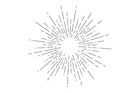 Sunburst. Light rays, sunburst and rays of sun. Hand drawn black and white design elements, linear drawing, vintage hipster style on white background. Light rays sunburst. Vector Illustration
