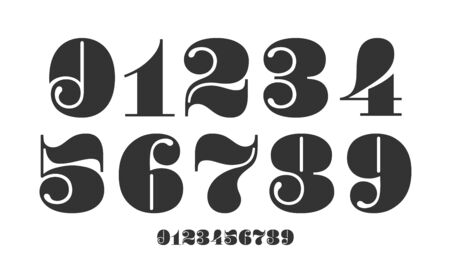 Number font. Font of numbers in classical french didot or didone style with contemporary geometric design. Beautiful elegant numerals. Vintage and old school retro typographic. Vector Illustration  イラスト・ベクター素材