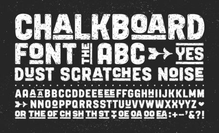 Hand-drawn alphabet and font. Bold, regular and medium uppercase letters, alternative characters. Creative hand-drawn sketch texture font for design, typographic. Vector Illustration