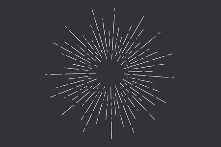 Sunburst. Light rays, sunburst and rays of sun. Hand drawn black and white design elements, linear drawing, vintage hipster style on dark black background. Light rays sunburst. Vector Illustration 向量圖像