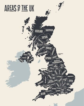 Map United Kingdom. Poster map of areas of the United Kingdom. Black and white print map of United Kingdom for t-shirt, poster, print. Hand-drawn graphic map with areas. Vector Illustration 版權商用圖片 - 144716120
