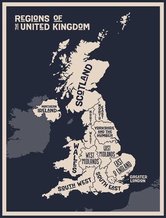 Map United Kingdom. Poster map of regions of the United Kingdom. Black and white print map of United Kingdom for t-shirt, poster, print. Hand-drawn graphic map with regions. Vector Illustration