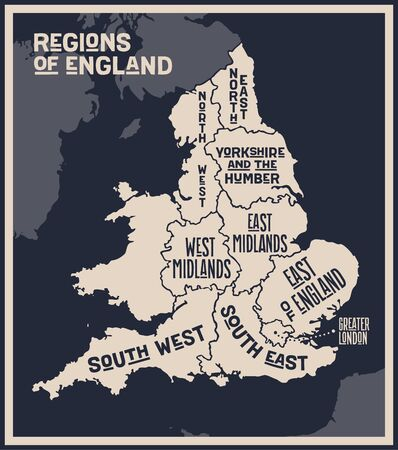 Map England. Poster map of regions of England. Black and white print map of England for t-shirt, poster, print. Hand-drawn graphic map with regions. Vector Illustration