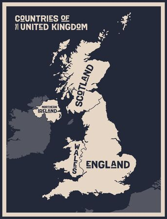 Map United Kingdom. Poster map of countries of the United Kingdom. Black and white print map of United Kingdom for t-shirt, poster, print. Hand-drawn graphic map with countries. Vector Illustration 版權商用圖片 - 145782685