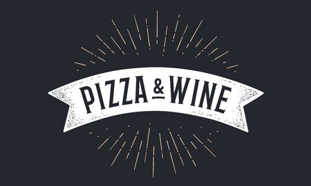 Flag ribbon Pizza Wine. Old school flag banner with text Pizza Wine. Ribbon flag in vintage style with linear drawing light rays, sunburst and rays of sun, text pizza wine. Vector Illustration 版權商用圖片 - 146298624