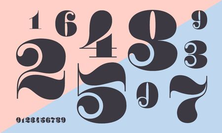 Number font. Font of numbers in classical french didot or didone style with contemporary geometric design. Beautiful elegant numerals. Vintage and old school retro typographic. Vector Illustration 矢量图像