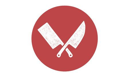 Set of restaurant knives icons. Silhouette two butcher knives - Cleaver and Chef Knives.  template for meat business - farmer shop, market, butchery or design. Vector Illustration 版權商用圖片 - 146298634