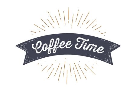 Flag ribbon Coffee Time. Old school flag banner with text Coffee Time. Ribbon flag in vintage style with linear drawing light rays, sunburst and rays of sun, text coffee time. Vector Illustration 版權商用圖片 - 146671373