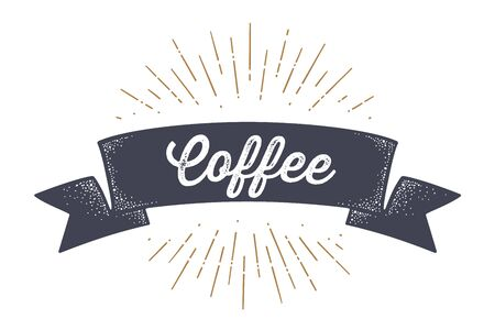 Flag ribbon Coffee. Old school flag banner with text Coffee. Ribbon flag in vintage style with linear drawing light rays, sunburst and rays of sun, text coffee. Vector Illustration 向量圖像