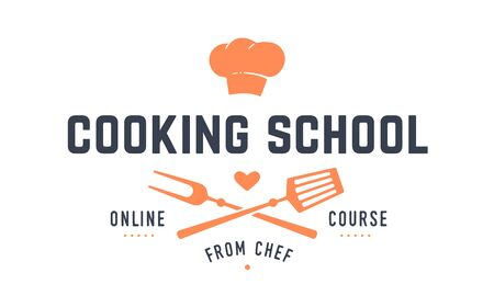 Food logo. Logo for Cooking school class with icon bbq tools, grill fork, spatula, text typography Coocking School, online Course. Graphic logo template for cooking cuisine course. Vector Illustration 版權商用圖片 - 146671380