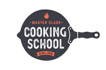 Kitchen frying pan. Logo for Cooking school class with frying pan and calligraphy lettering text Cooking school, Online Master class. Old school typography. Vector Illustration
