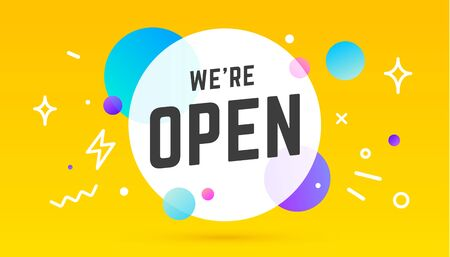 Open. Banner, speech bubble, poster and sticker concept, memphis geometric style with text We are Open. Icon message Open cloud talk for banner, poster, web. Vector Illustration 版權商用圖片 - 146671389