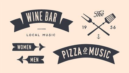 Vintage graphic set. Set of vintage banner, ribbon, cutting knive, text, old school graphic elements, food tools. Design elements for restaurant, bar, cafe, food shop and market. Vector Illustration 版權商用圖片 - 146671390