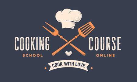 Food logo. Logo for Cooking school class with icon bbq tools, grill fork, spatula, hat chef, text typography Coocking Course. Graphic logo template for cooking cuisine course. Vector Illustration 版權商用圖片 - 146671393