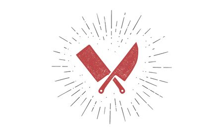 Set of butcher knives icons. Silhouette two butcher knives - Cleaver and Chef Knives and sunburst. Logo template for meat business - farmer shop, market, butchery or design. Vector Illustration 向量圖像