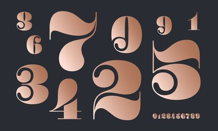 Number font. Font of numbers in classical french didot or didone style with contemporary geometric design. Beautiful elegant numerals. Vintage and old school retro typographic. Vector Illustration 版權商用圖片 - 146671398