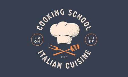 Food logo. Logo for Cooking school class with icon bbq tools, grill fork, spatula, text typography Coocking School, Cuisine. Graphic logo template for cooking cuisine course. Vector Illustration 向量圖像