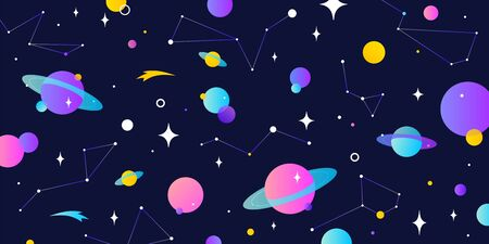Universe, cosmos. Universe, cosmos and space background with planet, shining star. Colorful cosmos with stardust, planet, star and milky way. Magic colorful universe, starry night. Vector Illustration 向量圖像
