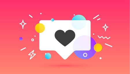 Notifications icon Like. Speech bubble. Like icon with heart for social network on red background. Speech bubble, poster concept for web. Explosion burst design, speech bubble. Vector Illustration 向量圖像