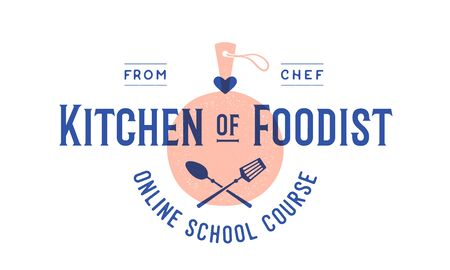 Food logo. Logo for Cooking school class with icon bbq tools, grill fork, spatula, text typography Kitchen Foodist, School Course. Graphic logo template for cooking cuisine course. Vector Illustration 向量圖像