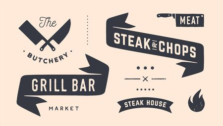 Vintage graphic set. Set of vintage banner, ribbon, cutting knive, text, old school graphic elements, food tools. Design elements for restaurant, bar, cafe, food shop and market. Vector Illustration 版權商用圖片 - 146990638
