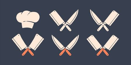 Set of restaurant knives icons. Silhouette two butcher knives - Cleaver and Chef Knives, hat chef. Logo template for meat business - farmer shop, market or design. Vector Illustration 版權商用圖片 - 146990639