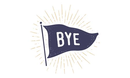 Bye. Flag grahpic. Old vintage trendy flag with text Bye, Goodbye. Vintage banner with ribbon flag, vintage style with linear drawing light rays, sunburst and rays of sun. Vector Illustration
