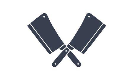 Set of butcher knives icons. Silhouette two butcher knives - Cleaver Knife. Logo template for meat business - farmer shop, market, butchery or design - label, banner, sticker. Vector Illustration 向量圖像