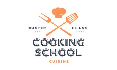 Food logo. Logo for Cooking school class with icon bbq tools, grill fork, spatula, text typography Coocking School, Master Class. Graphic logo template for cooking cuisine course. Vector Illustration 版權商用圖片 - 146990647