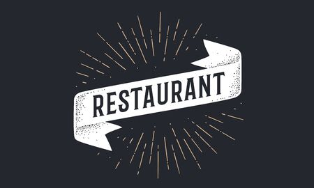 Flag ribbon Restaurant. Old school flag banner with text Restaurant. Ribbon flag in vintage style with linear drawing light rays, sunburst and rays of sun, text restaurant. Vector Illustration 版權商用圖片 - 147411732